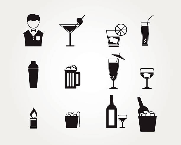 bartender and alcohol drinking icon vector art illustration