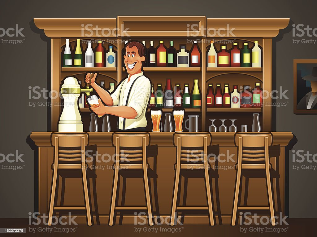 Bartender At Pub Bar Counter Illustration Stock Vector Art & More ...