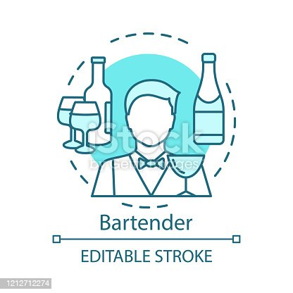 istock Bartender concept icon. Barman, barkeeper idea thin line illustration. Restaurant, bar staff. Catering business. Wine, alcoholic beverage in bottle. Vector isolated outline drawing. Editable stroke 1212712274