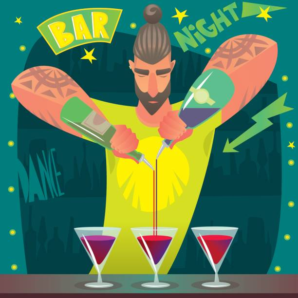 Bartender deftly preparing cocktails vector art illustration