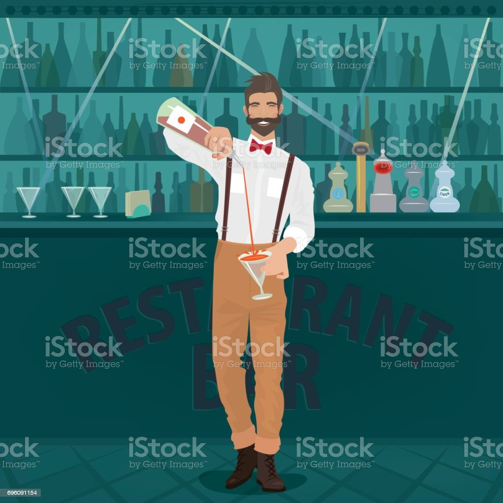 Bartender hipster pours drink into glass vector art illustration