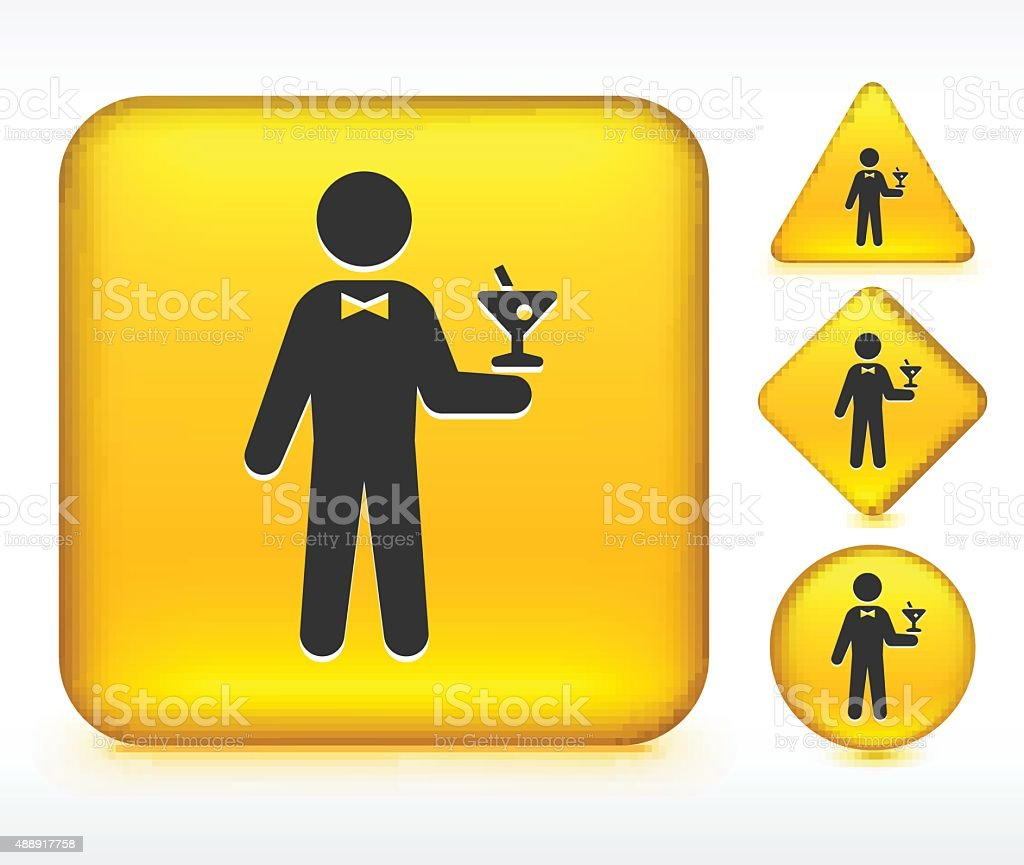 Bartender on Yellow Buttons vector art illustration