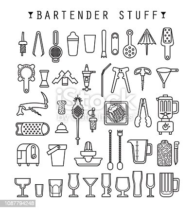 Bartender stuff. Flat design. Vector.