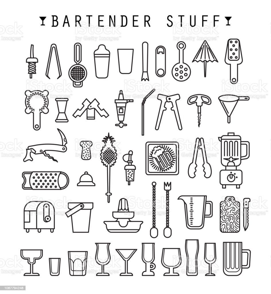 Bartender stuff. Flat design. Vector. vector art illustration