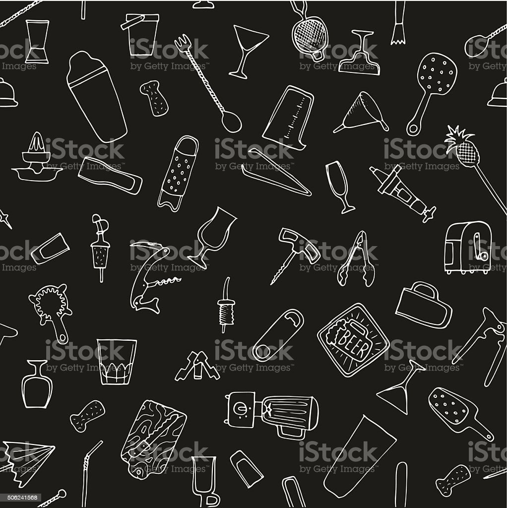 Bartender stuff. Seamless pattern. Big hand drawn collection. Vector. Isolated. vector art illustration
