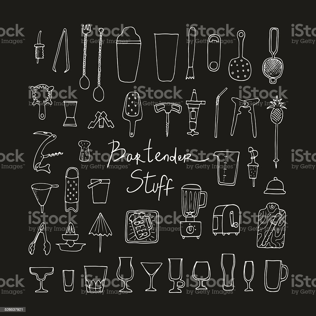 Bartender stuff. Vector. Isolated. vector art illustration