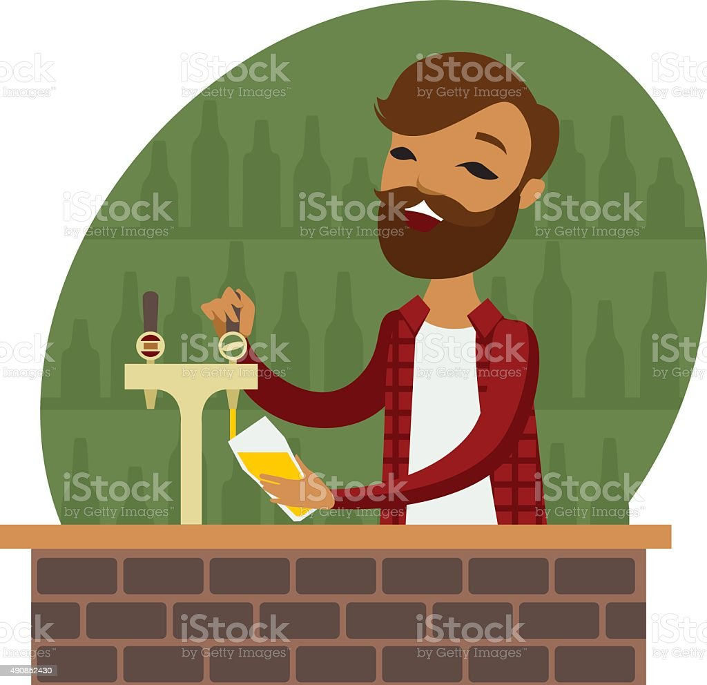 Bartender vector art illustration