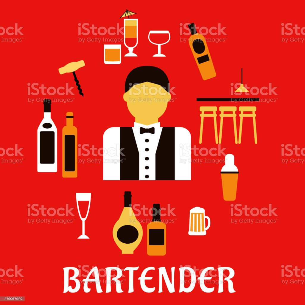 Bartender with cocktails. Profession flat concept vector art illustration