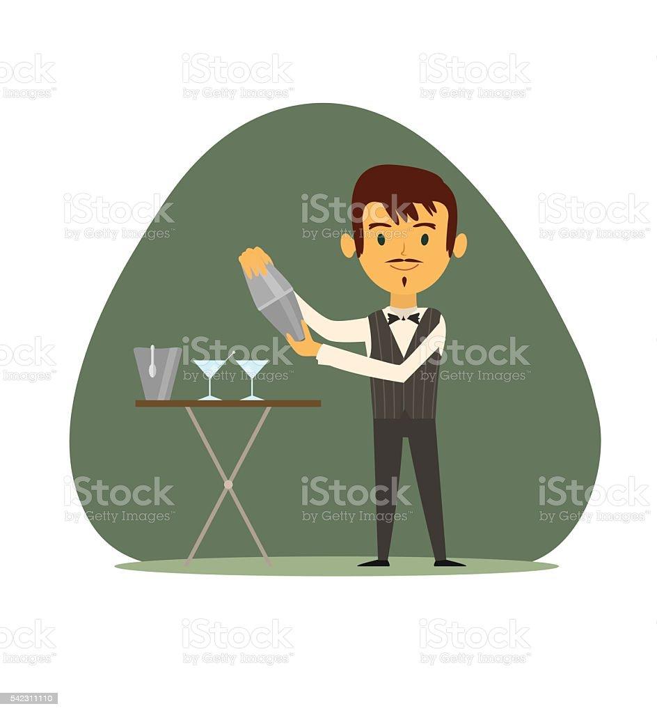 Bartender with shaker vector art illustration