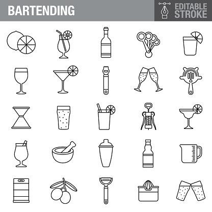 Bartending Editable Stroke Icon Set