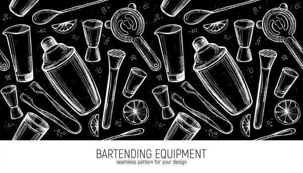 바텐더 장비 원활한 패턴. - bartender stock illustrations