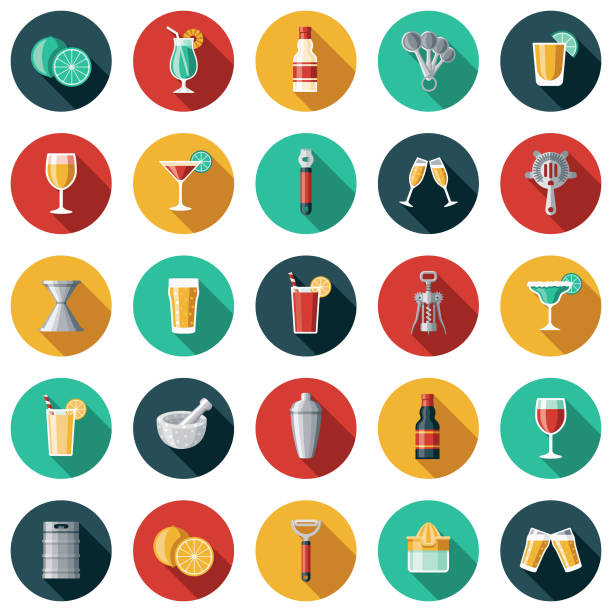 ilustrações de stock, clip art, desenhos animados e ícones de bartending icon set - refresco