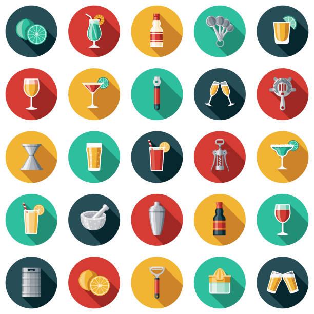 barmenlik icon set - bartender stock illustrations
