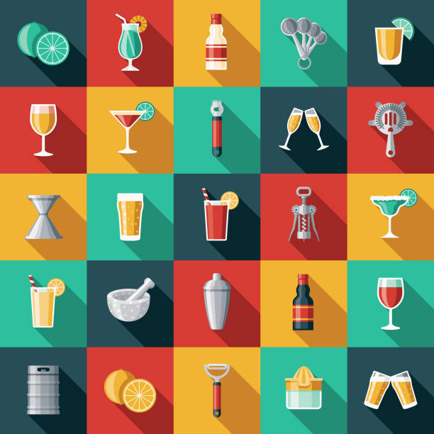 Barkeeper-Icon-Set – Vektorgrafik