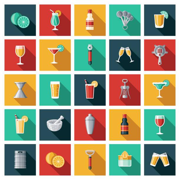 바텐더 아이콘 세트 - bartender stock illustrations