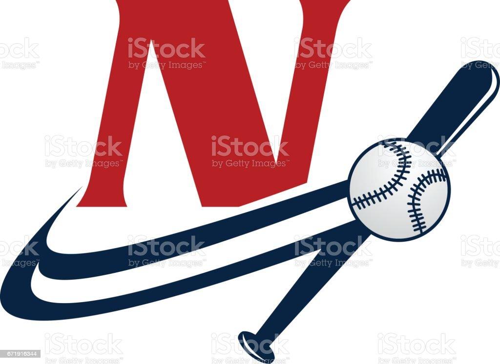 93899af77 Base Ball letra N vetor de base ball letra n e mais banco de imagens de base