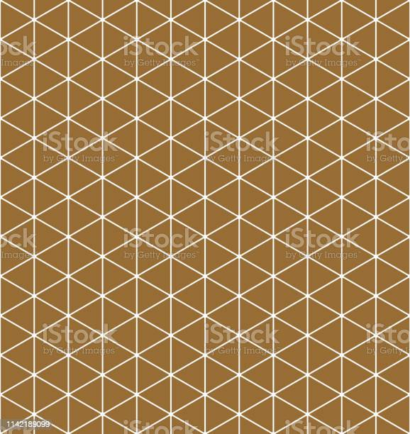Seamless pattern.Base grid Mitsukude for japanese patterns Kumiko. Kumiko brown background and white pattern color silhouette.Average thickness lines.ROUNDED corners