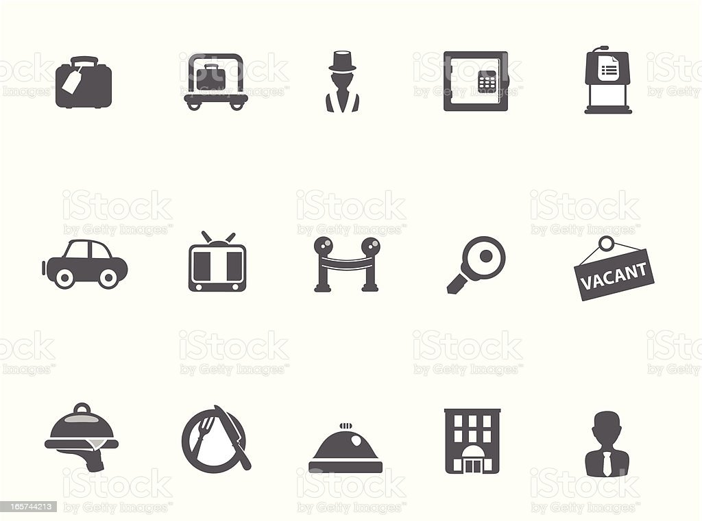 Base Hotel Icons vector art illustration