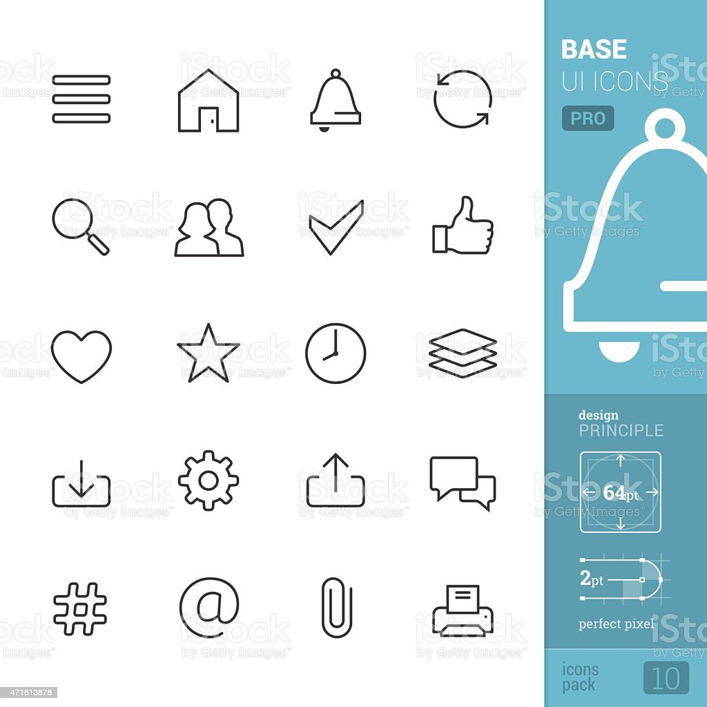 Base UI related vector icons - PRO pack vector art illustration