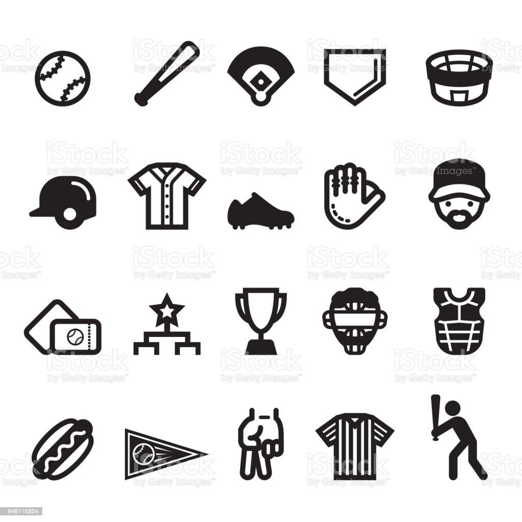 Baseball 2018 Icons vector art illustration