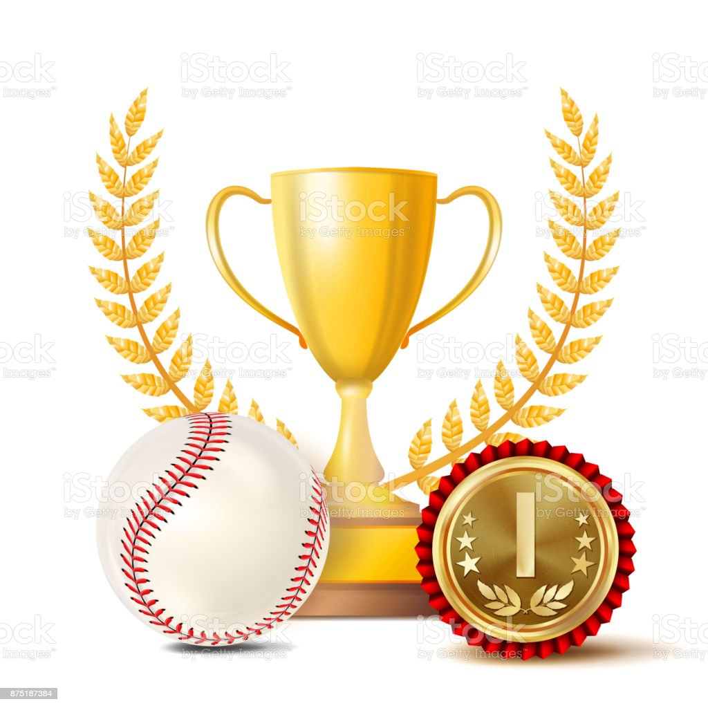 Baseball Award Vector. Sport Banner Background. White Ball With Red...