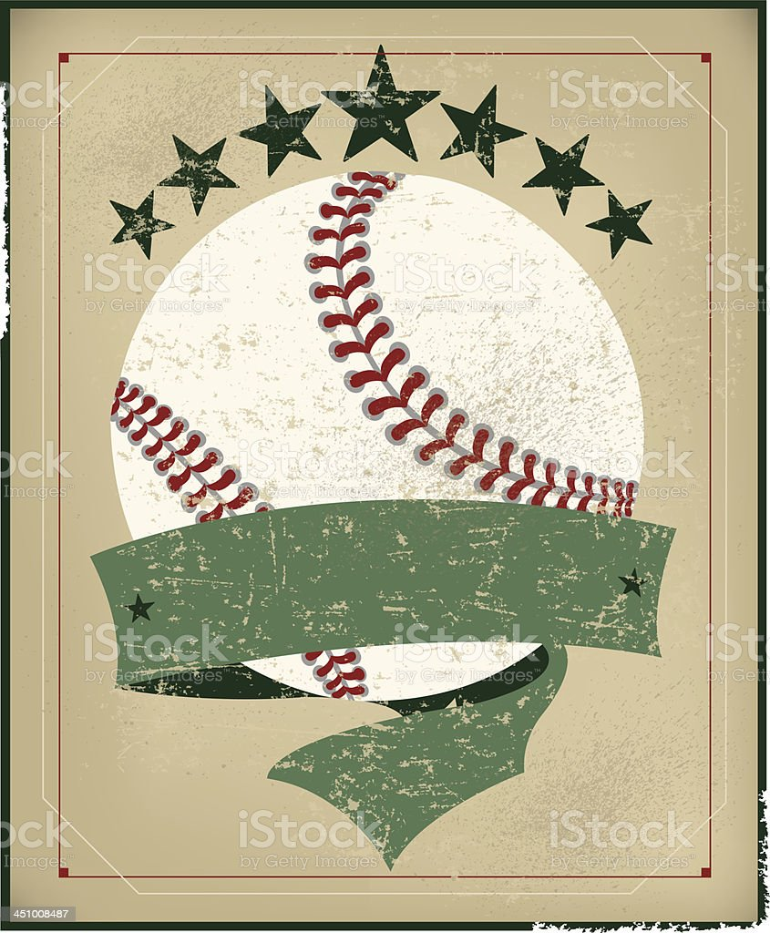Baseball All-Star Background with Banner - Retro vector art illustration
