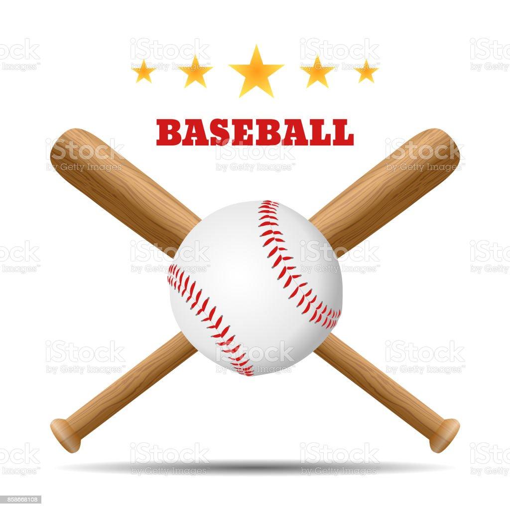 Baseball and baseball bat vector art illustration