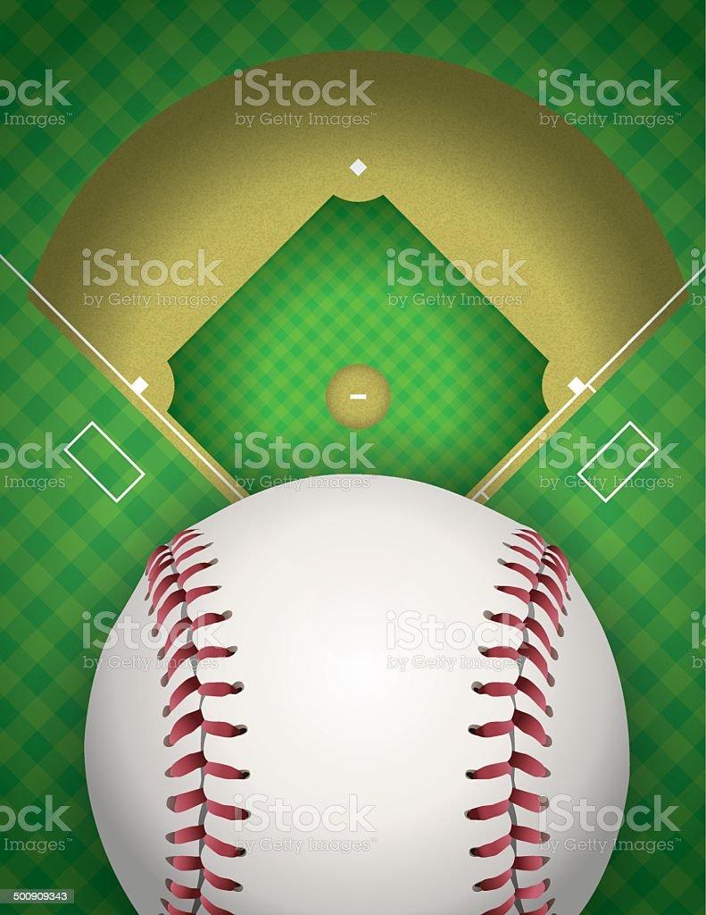 Baseball and Baseball Field Illustration vector art illustration