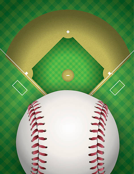 Baseball and Baseball Field Illustration An illustration of a baseball field and baseball. Vector EPS file contains transparencies. infield stock illustrations