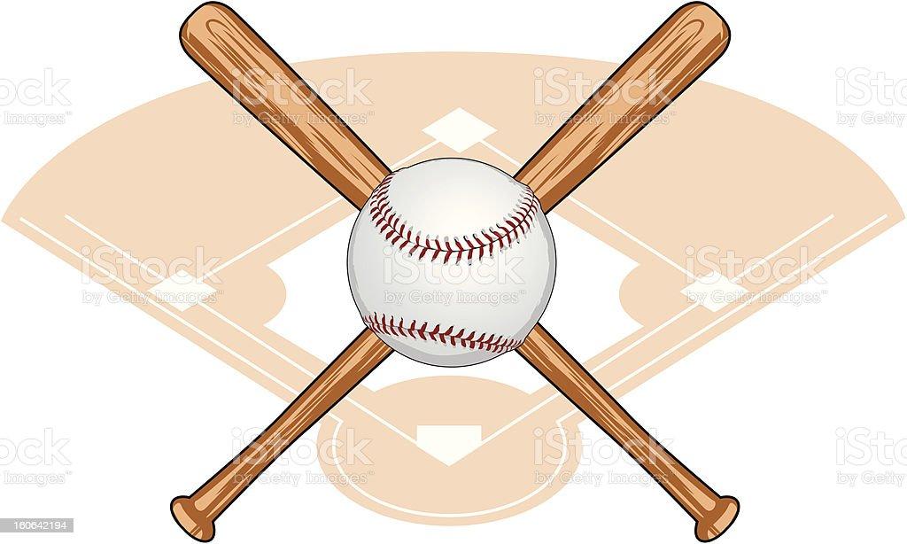 Baseball and Crossed Bats vector art illustration