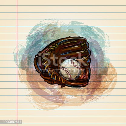 istock Baseball and Glove Drawing on Ruled Paper 1200882874