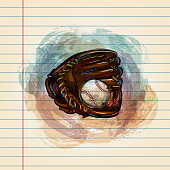 Drawing of Baseball and Glove in watercolour style on ruled paper. Elements are grouped.contains eps10 and high resolution jpeg.