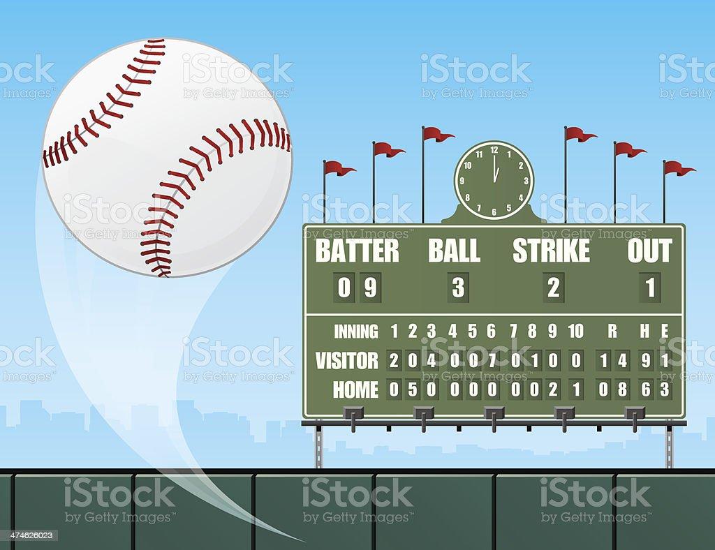 Baseball and Scoreboard vector art illustration