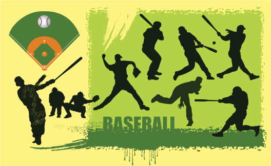 Baseball and silhouettes