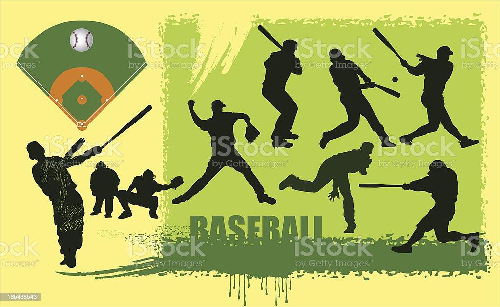 Baseball and silhouettes vector art illustration