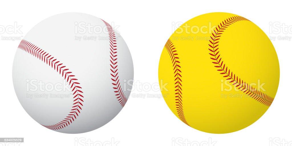 Baseball and Softball Balls vector art illustration