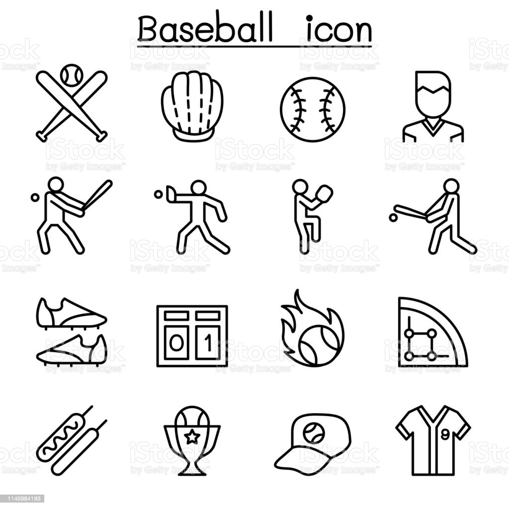 Baseball and softball icon set in thin line style