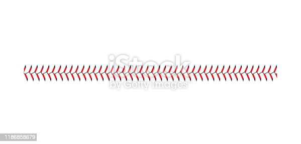 Baseball and softball lace stitch isolated on white background, straight line of sport ball seam with blue and red stitches, team game graphic symbol - realistic vector illustration