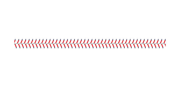 baseball and softball lace stitch isolated on white background, straight line of sport ball seam with blue and red stitches - baseball stock illustrations