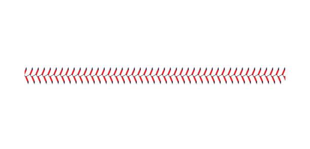ilustraciones, imágenes clip art, dibujos animados e iconos de stock de punto de béisbol y encaje de sóft aisllado sobre fondo blanco, línea recta de costura de bola deportiva con puntadas azules y rojas - béisbol
