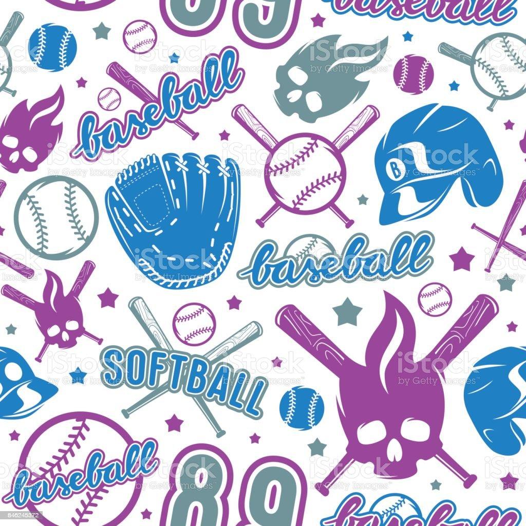 Baseball and softball seamless pattern. Color print on white...