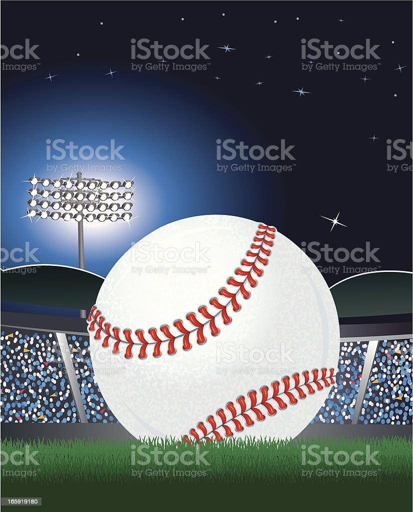 Baseball and Stadium Under Lights at Night royalty-free stock vector art
