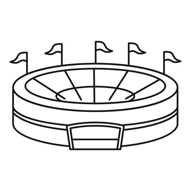 baseball arena icon, outline style - baseball stadium stock illustrations, clip art, cartoons, & icons