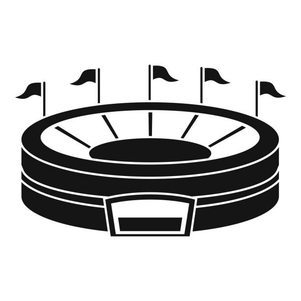 baseball arena icon, simple style - baseball stadium stock illustrations, clip art, cartoons, & icons
