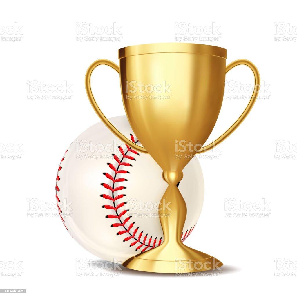 Baseball Game Award Vector. Baseball Ball, Golden Cup. Modern...