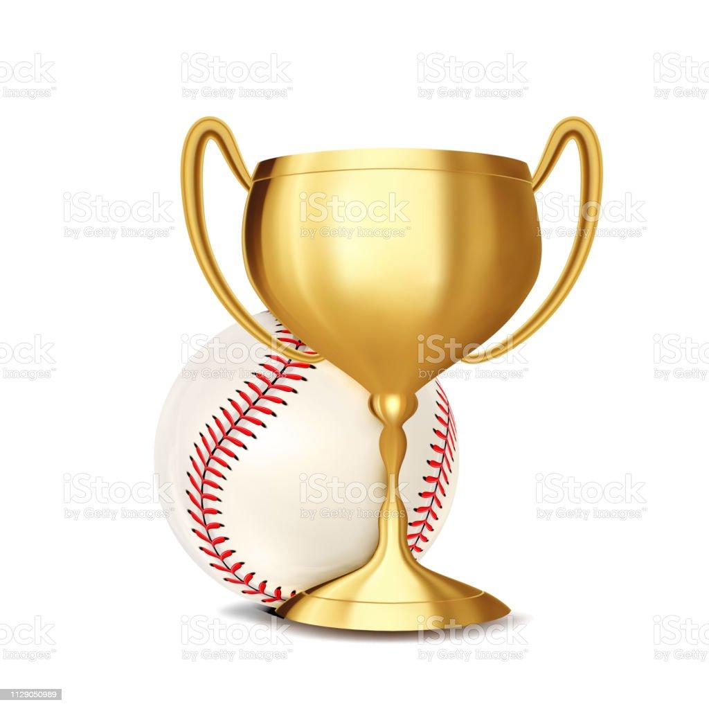 Baseball Award Vector. Baseball Ball, Golden Cup. Banner Advertising....