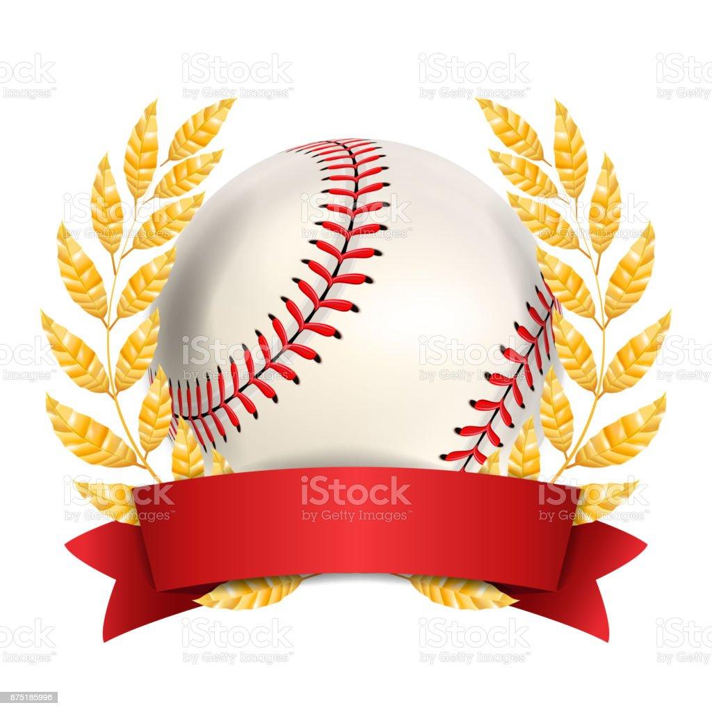 Baseball Award Vector. Sport Banner Background. White Ball, Red...