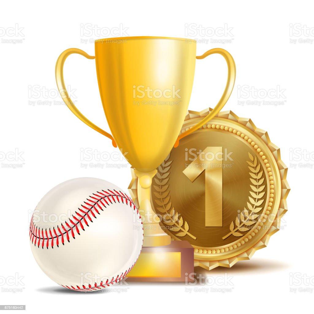 Baseball Achievement Award Vector. Sport Banner Background. White...