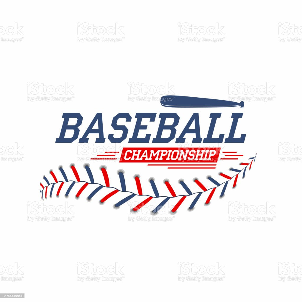 Baseball background. Baseball ball laces, stitches texture with bat. Sport club symbol, poster design