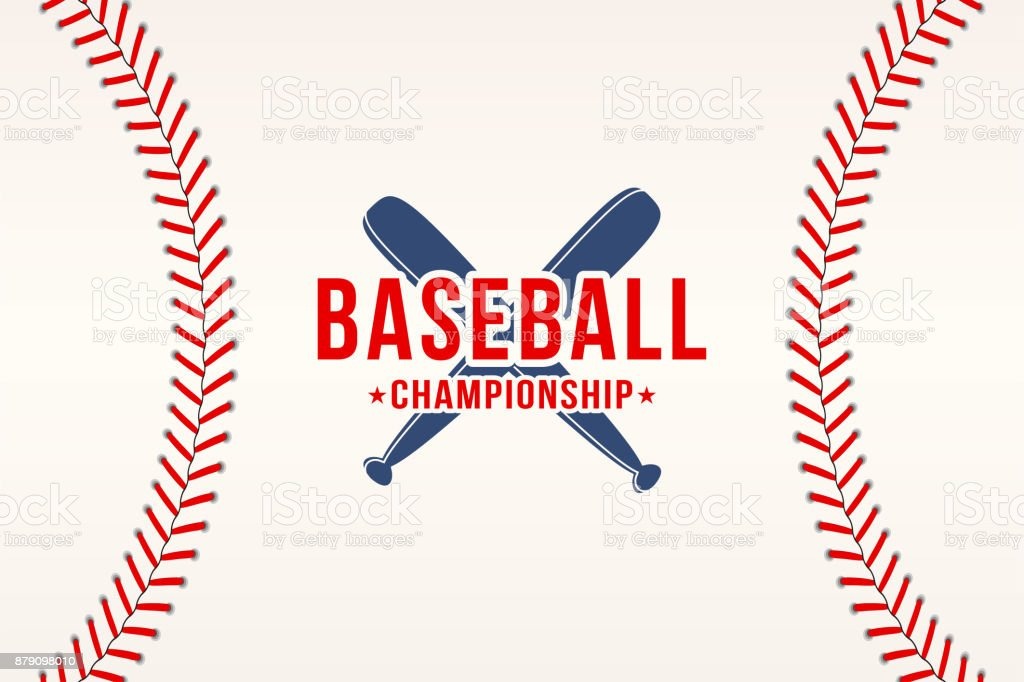 Baseball background. Baseball ball laces, stitches texture with bats. Sport club symbol, poster design vector art illustration